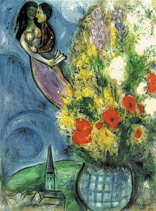 Chagall Lovers and Flowers Image